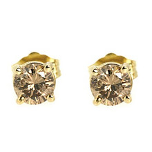 Brown Diamond Stud Earrings Yellow Gold