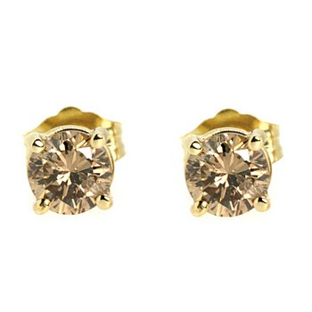 Brown Diamond Stud Earrings Yellow Gold
