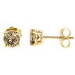 Brown Diamond Stud Earrings Yellow Gold Side