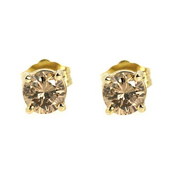 Brown Diamond Stud Earrings 14k Yellow Gold