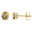 Brown Diamond Stud Earrings 14k Yellow Gold 2