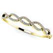 Diamond Twist Bangle Bracelet 18k Yellow Gold