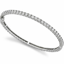 Classic Diamond Eternity Bangle Bracelet 14k White Gold