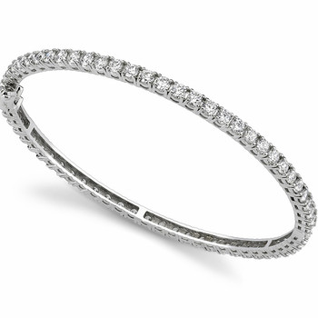 Classic Diamond Eternity Bangle Bracelet 14k White Gold