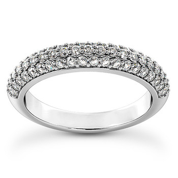 Pave-Set Diamond Wedding Ring Domed Band