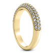 Pave-Set Diamond Wedding Ring Domed Yellow Gold Band