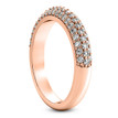 Pave-Set Diamond Wedding Ring Domed Rose Gold Band