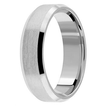 Beveled Wedding Band Satin Polished 18k Gold Ring