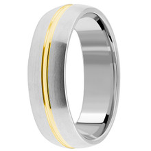 Solid Satin 18k 2 Tone Gold Wedding Band Ring