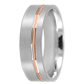 Men's Flat Satin Wedding Band 18k 2-Tone Ring