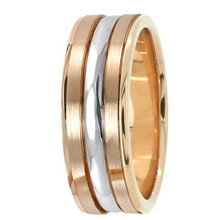 Satin 18k 2-Tone Rose Gold Wedding Band Ring
