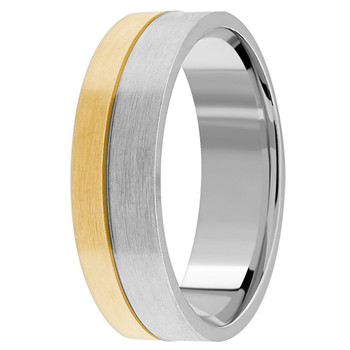 Modern 18k 2-Tone Gold Wedding Ring
