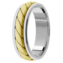 Handmade 18k 2-Tone Gold Braided Wedding Band Woven Ring