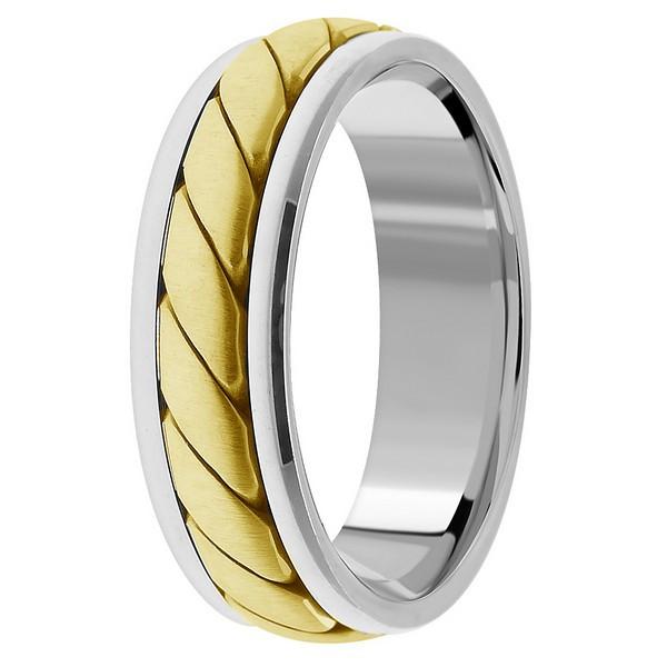 18k Two Tone Gold Wedding Band Ring For Men Women
