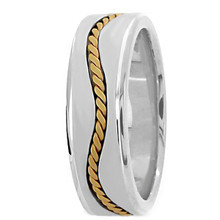 Mens 18k 2-Tone Gold Wave Twisted Weave Wedding Band Ring