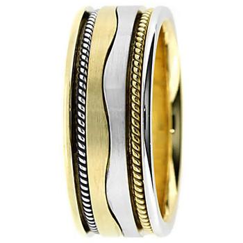 Handmade Wave 18k 2-Tone Gold Wedding Band Ring