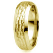 Hammered Beveled 18k Yellow Gold Wedding Ring Band