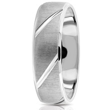 Domed Brushed Wedding Band Men's Ring Etched 950 Platinum