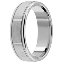 Comfort-Fit Satin Finished Platinum Wedding Ring Band