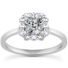 Princess-Cut Diamond Halo Engagement Ring Setting