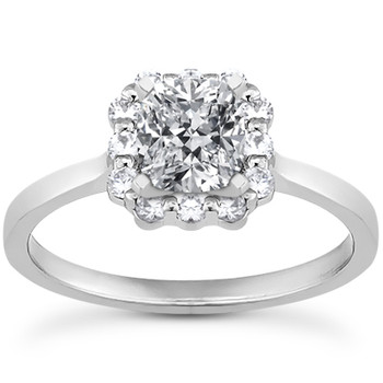 Princess-Cut Diamond Halo Engagement Ring Setting