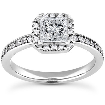 Princess-Cut Diamond Halo Ring Setting