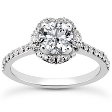 Unique Diamond Flower Halo Engagement Ring