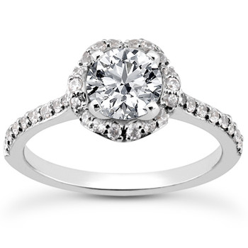 Unique Diamond Flower Halo Engagement Ring