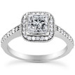 Princess Cut Diamond Halo Engagement Ring Setting