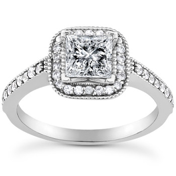 Princess Cut Diamond Halo Engagement Ring Setting