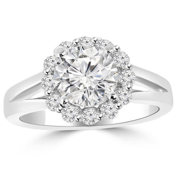 Diamond Halo Engagement Ring With Split Band