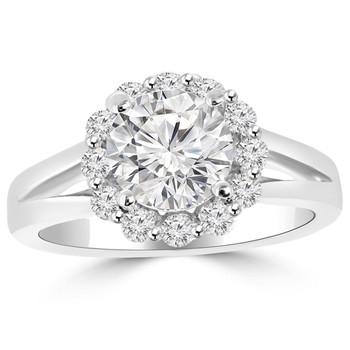 Diamond Halo Engagement Ring With Split Band