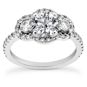 Three Stone Diamond Halo Engagement Ring