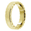 Leather-Textured Wedding Band 14k Yellow Gold Mens Vintage Edge Ring