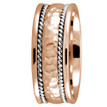 Handmade Hammered Satin Wedding Band 14k Rose Gold Ring