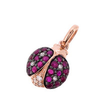 Ruby Diamond Ladybug Charm Pendant Rose Pink Gold
