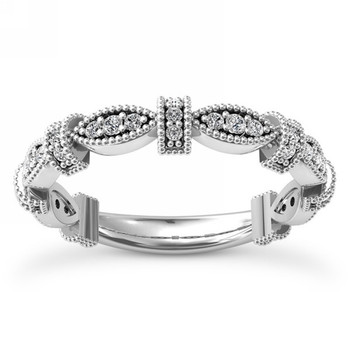 Intricate Diamond Wedding Band Bridal Ring With Milgrain