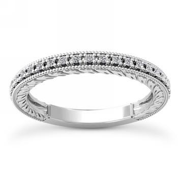 Vintage Diamond Wedding Band Bridal Ring With Milgrain
