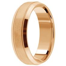 Satin 14k Rose Pink Gold Wedding Band Beveled Men's Ring