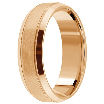 Satin 14k Rose Pink Gold Wedding Band Beveled Men's Ring