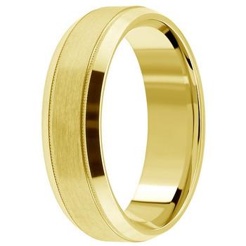 Satin-Finished 14k Yellow Gold Wedding Band Beveled Mens Ring