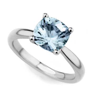 Cushion-Cut Blue Aquamarine Solitaire Engagement Ring