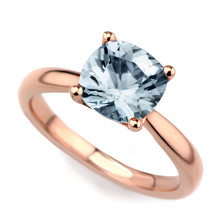 Cushion-Cut Blue Aquamarine Solitaire Engagement Ring 14k Rose Gold