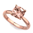 Peach-Pink Cushion Morganite Solitaire Engagement Ring 14k Rose Gold