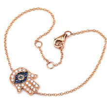 Diamond Sapphire Hamsa Evil-Eye Charm Bracelet 14k Rose Gold