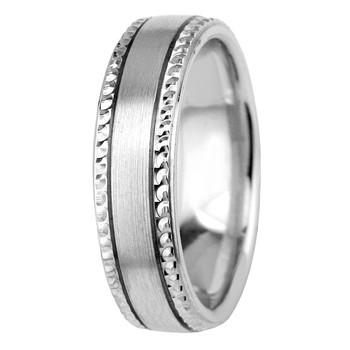 Beaded-Edge Satin 14k Gold Wedding Ring Comfort-Fit Band