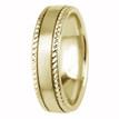 Beaded-Edge Satin 14k Yellow Gold Wedding Ring Comfort-Fit Band