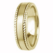 Beaded-Edge Satin 14k Yellow Gold Wedding Ring Comfort-Fit Band