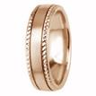Beaded-Edge Satin 14k Rose Gold Wedding Ring Comfort-Fit Band