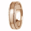 Beaded-Edge Satin 18k Rose Gold Wedding Ring Comfort-Fit Band
